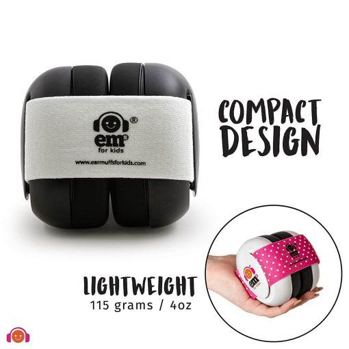 Earmuff Ems Baby Earmuff (Black with White stripe)