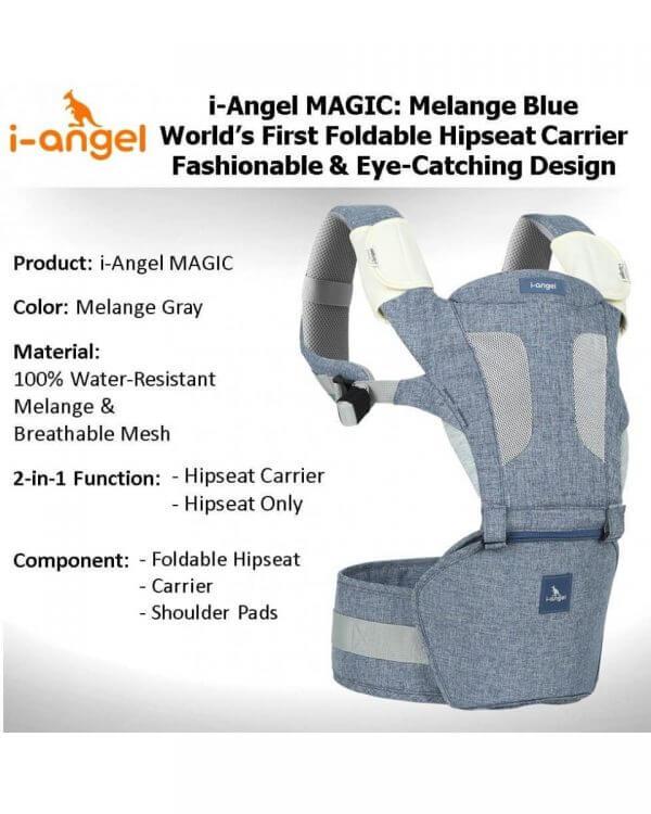 Baby Carrier I Angel Hipseat Carrier Magic 7 – Melange Blue