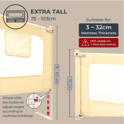 Bedrail Bedrail Skida Extra Tall Slide Down – Beige 200cm