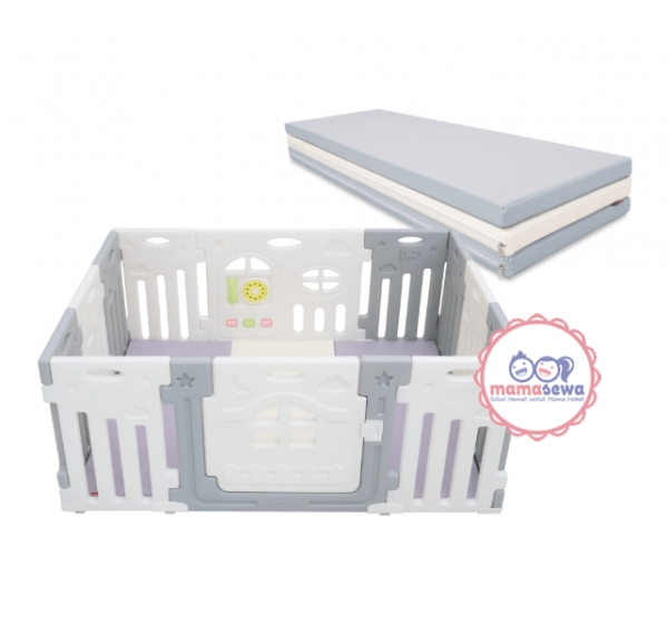 Bumperbed & Playmat Lumba Play Fence Airplane Monochrome 10+2 with Playmat