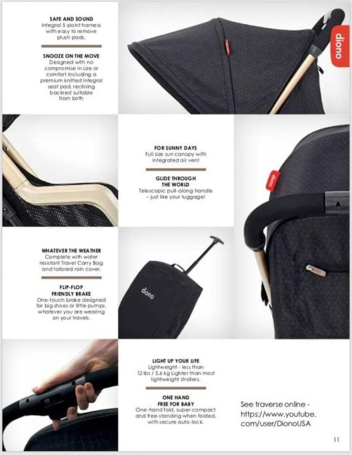 Stroller Diono Traverze Super-Compact Stroller – Black Facet