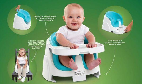 Kursi Makan Ingenuity Baby Base 2in1 Booster Seat – Ultramarine Green