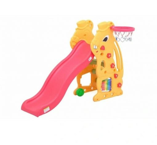 Baby Activities Labeille Bunny Slide and Basketball – Yellow Pink